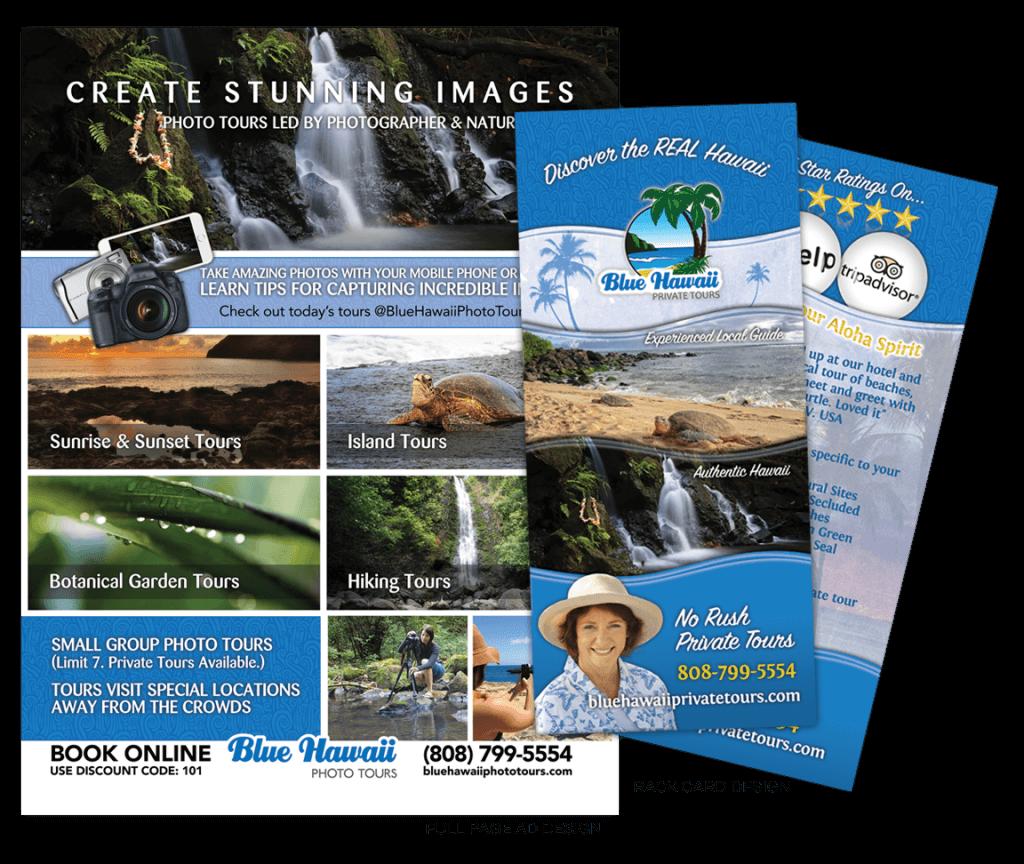 Blue Hawaii Photo Tour Ad & Rack Card Designs