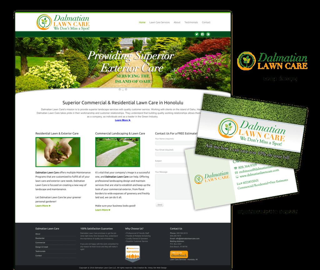 Dalmatian Lawn Care Website, Logo & Business Card Design